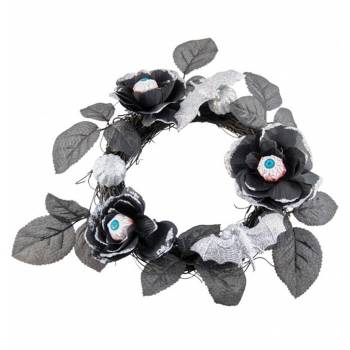 Couronne de fleurs noires globes occulaires