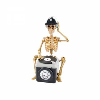 Squelette DJ animé 25cm
