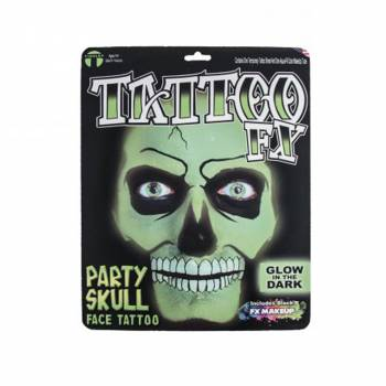 Tattoo faciale tête de mort glow in the dark