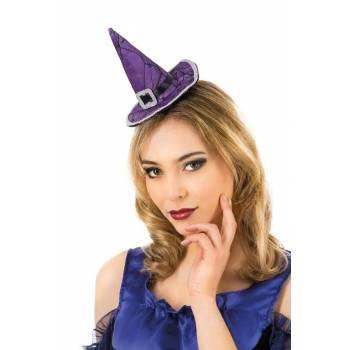 Serre tête mini chapeau de sorcière violet
