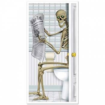 Décor de porte squelette wc