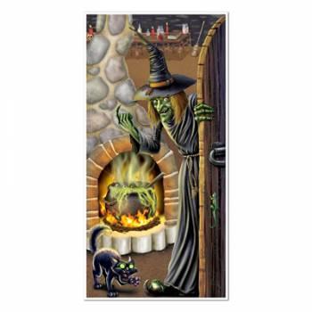 Décor de porte sorcière chaudron