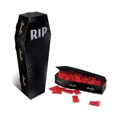 Boite à bonbons en carton en fome de cercueil à garnir idéal pour déposer sur votre buffet d'Halloween Dimensions : 32.5cm x 6.5 cm