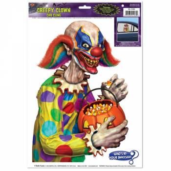 Autocollant fenêtre voiture clown effrayant