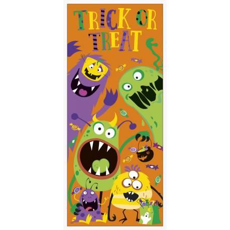 Décor de porte monstres rigolos pour une décoration d'Hallowwen pour les enfants Dimensions : 152 cm x 70 cm