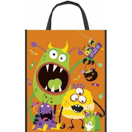 Sac à récolte de bonbons d'Halloween thème monstres rigolos Dimensions : 38 cm x 30 cm