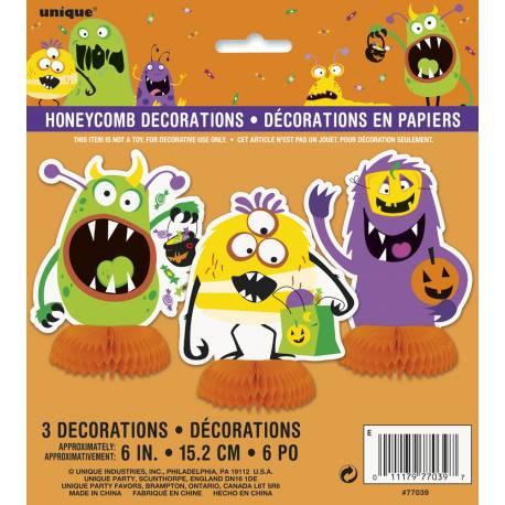 3 décors de table monstres rigolos pour une décoration de table Halloween enfantine Dimensions : H15cm