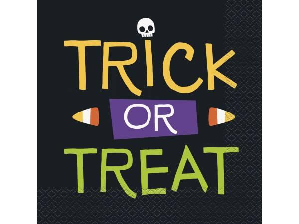 Serviettes trick or treat squelette