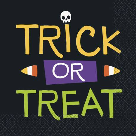 16 Serviettes en papier thèmetrick or treat squelette pour une décoration d'Halloween enfantine Dimensions : 33cm x 33cm