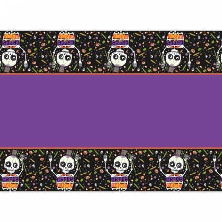 Nappe en plastique thèmetrick or treat squelette pour une décoration d'Halloween enfantine Dimensions : 140cm x 210cm