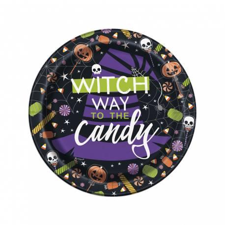 8 Assiettes à dessert en carton thème trick or treat squelette pour une décoration de table d'Halloween enfantine Dimensions : Ø 18 cm