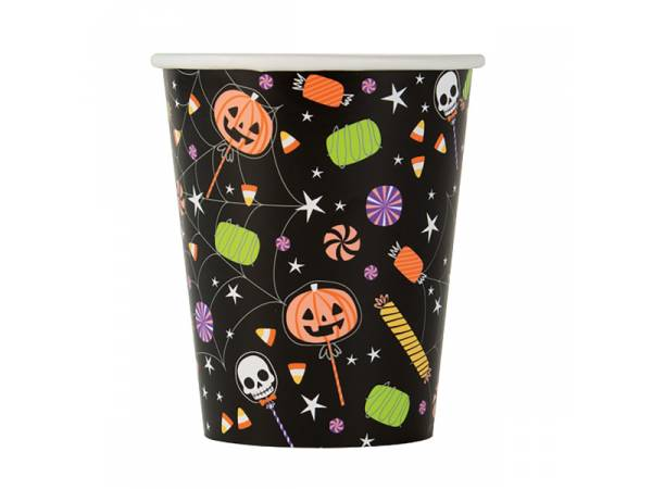 Deco table Halloween- gobelets trick or treat squelette