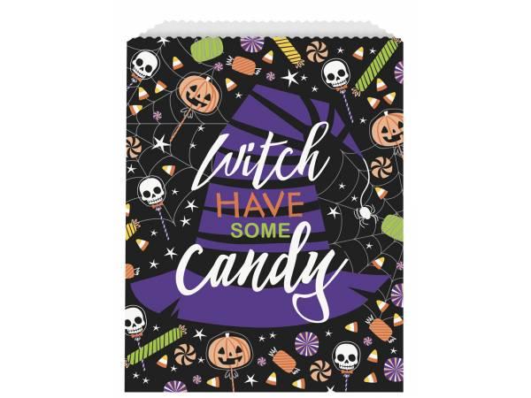 Deco table Halloween- sachets papier trick or treat squelette