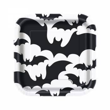 10 Assiettes dessert Halloween bats