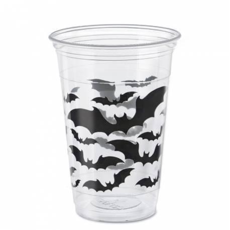 8 gobelets thème halloween bats pour une belle décoration d'Halloween Dimensions : 9.5cm x 17cm 45cl
