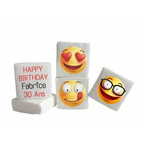 Guimauves personnalisées avec votre photo, idéales pour vos anniversaires ou fêtes à thème. Dimension 4,5 cm X 4,5 cm .Délais 3 jours...