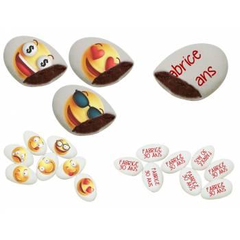 110 Dragées chocolat personnalisés décor Smiley & Emoji texte