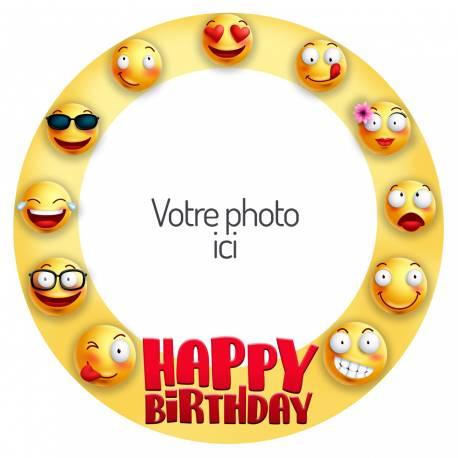 Disque sucre personnalisé décor Smiley pour décorer vos gâteaux d'anniversaires. Diamètre 19 cm  Peut être conservé 6 mois après la...