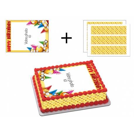 Kit décor en sucre Easycake pour réaliser un gâteau rectangle en 1 clin d'oeil ! Prévu pour un gâteau rectangle de 20 x 30 cm soit 18...