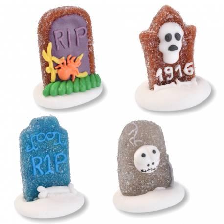 Assortiment de 4Pierres tombales gélifiés aux fruits et décorer en sucre idéal pour la décoration de vos gourmandises...
