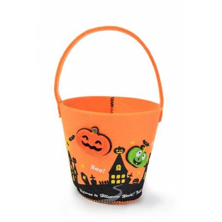 Superbe seau en feutrine pour la récolte des bonbons d'Halloween Dimensions : Ø12 cm x H 11cm