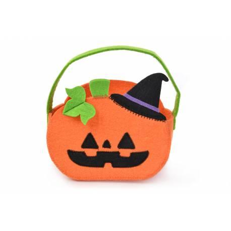 Superbe panier en forme de citrouille en feutrine pour la récolte des bonbons d'Halloween Dimensions : L17cm x H11.5cm x P8.5cm
