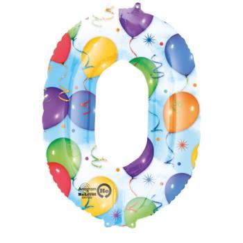 Ballon géant chiffre 0 festif