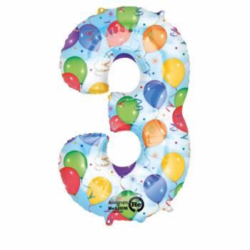 Ballon géant chiffre 3 festif