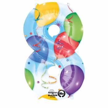 Ballon géant chiffre 8 festif