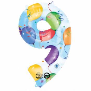 Ballon géant chiffre 9 festif