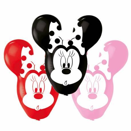 4 Ballons en forme de tête de Minniegéante assortis en couleur pour une belle décoration d'anniversaire Dimensions : 55cm
