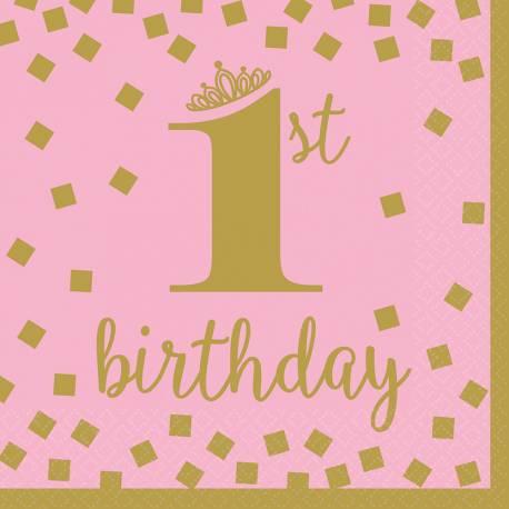 16 Serviettes en papier pour le 1er anniversaire de votre enfant couleur rose et or Dimensions : 33cm