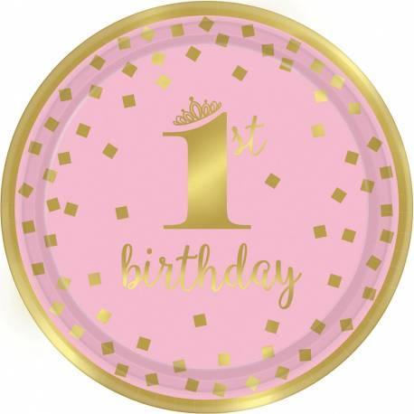 8 assiettesen carton pour le 1er anniversaire de votre enfant couleur rose et or Dimensions : Ø23cm