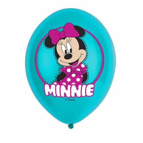 6 Ballons latex Minnie vert pour une belle décoration d'anniversaire Dimensions : Ø27.5cm