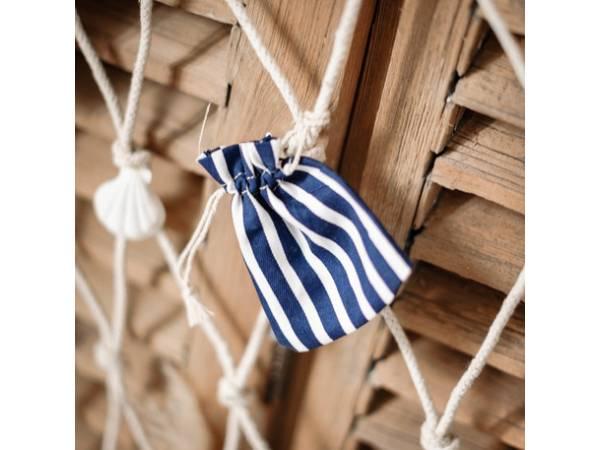 pochons coton rayé marine et blanc