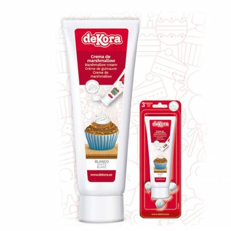 Décorez vos pâtisseries avec ce tube de crème de guimauve blanc Livré avec 3 douilles différentes à vissez sur le tube ! Poids brut:...