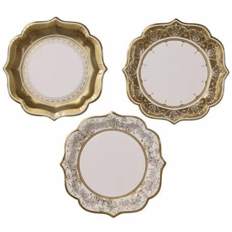 Assortiment de 12 assiettes à dessert en carton immitation porcelaine baroqe or pour une table de fête chic Dimensions : Ø20cm