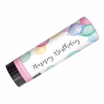 2 canons à confettis happy birthay pastel