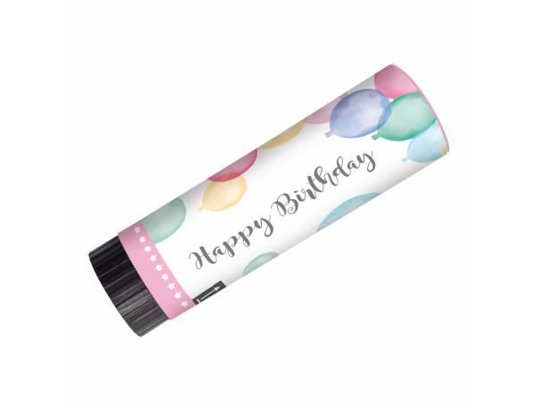 canons à confettis happy birthay pastel