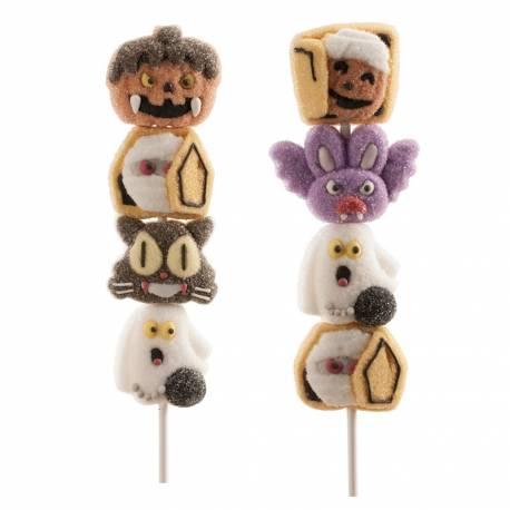 Brochette de marshmallow à l'effigie de personnage d'Halloween Vendu à l'unité design aléatoire Poids: 40gr Dimension: 21cm
