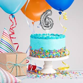 Cake topper ballon argent N°6