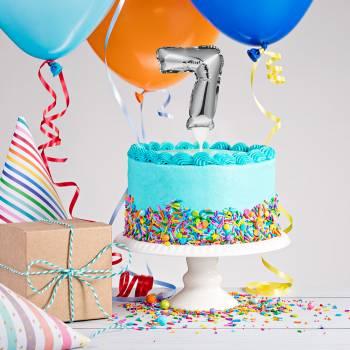 Cake topper ballon argent N°7