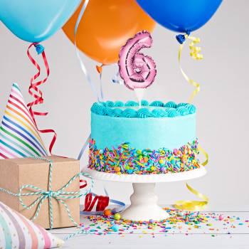 Cake topper ballon rose N°6
