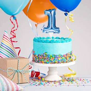 Cake topper ballon bleu N° 1