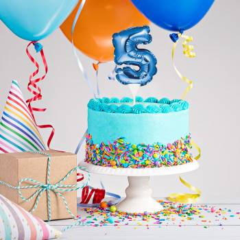 Cake topper ballon bleu N°5
