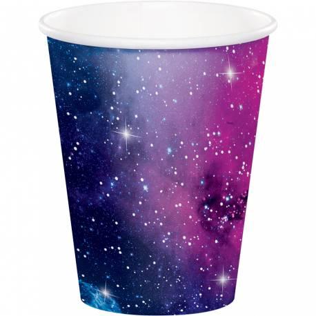 8 gobelets en carton galaxy pour une décoration de table de fête pour les fans d'espace Dimensions : 25cl