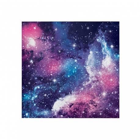 16 serviettes à dessert en papier galaxy pour une décoration de table de fête pour les fans d'espace Dimensions : 25cm x 25cm