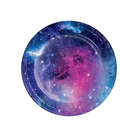 8 assiettes à dessert en papier galaxy pour une décoration de table de fête pour les fans d'espace Dimensions : Ø17.8cm