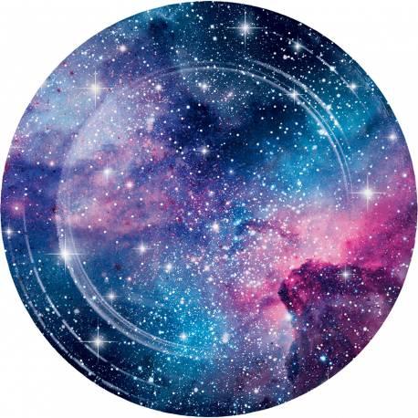 8 assiettes en papier galaxy pour une décoration de table de fête pour les fans d'espace Dimensions : Ø22.2cm