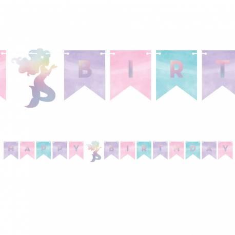 Superbes guirlande Happy birthday irisé pour une décoration de fête d'anniversaire tendance et holographique sirène shine Dimension:...